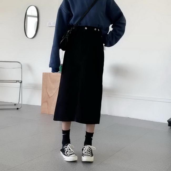 FOFU-黑色牛仔半身裙中長版女高腰顯瘦開叉a字裙子【08SG05342】