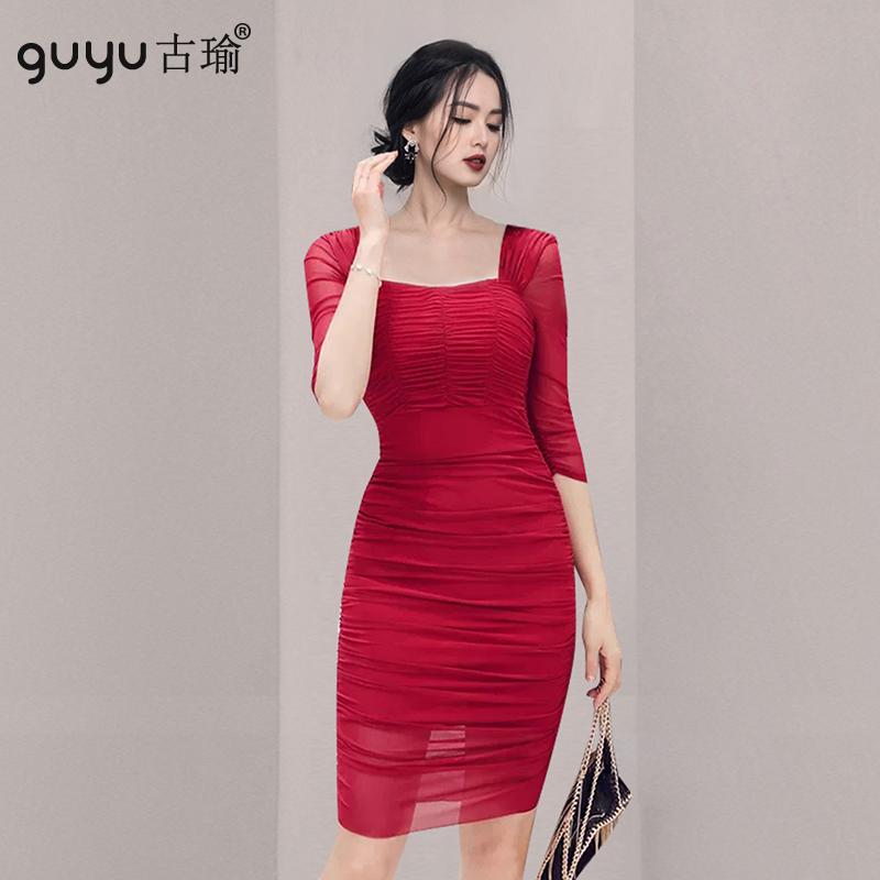 紅色宴會洋裝短袖 S-XL小性感顯身材縮皺抹胸包臀洋裝緊身連衣裙