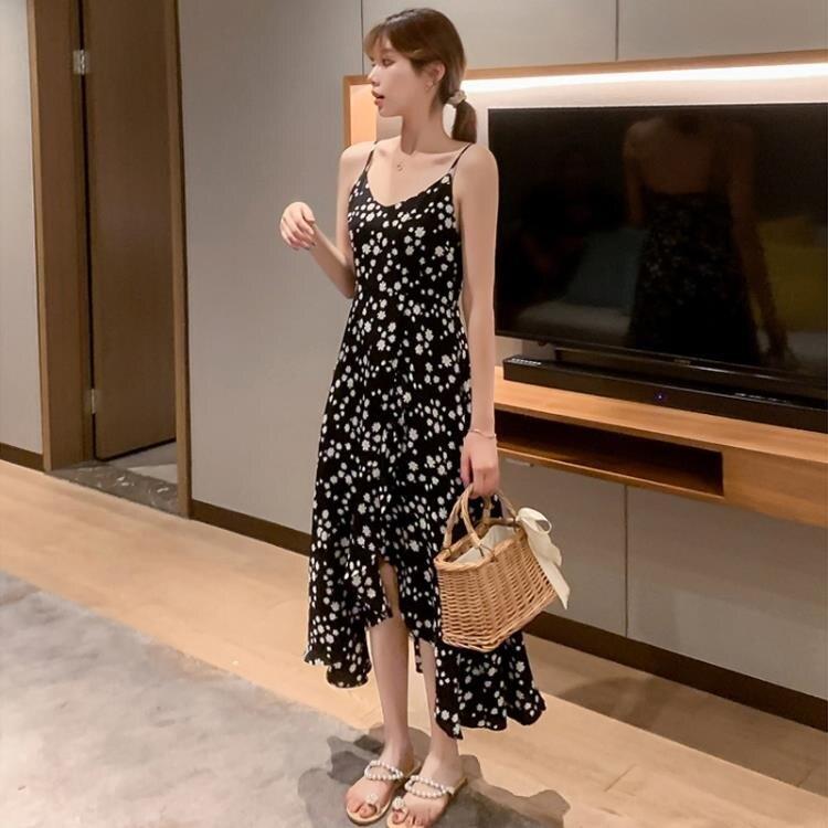 雪纺小雏菊洋裝女荷叶边长裙2021夏季新款法式复古碎花吊带裙子