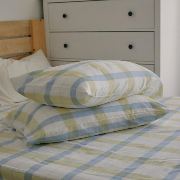《預購》長絨棉 色織雙層紗 枕套2入【萊姆格格】自由混搭 簡約文青 翔仔居家