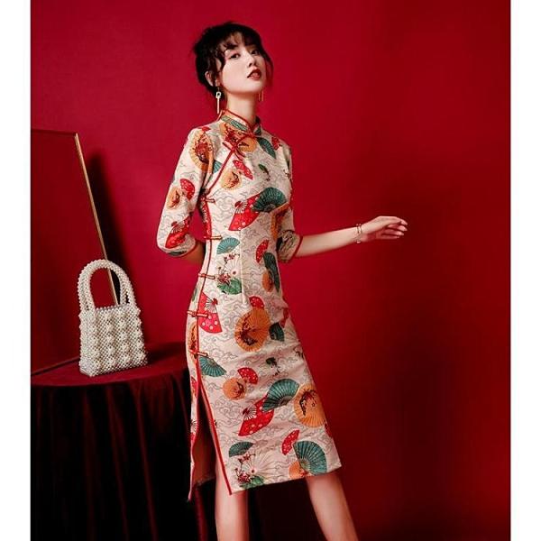 中國風洋裝 改良版旗袍2021春季新款年輕款少女顯瘦中國風優雅氣質旗袍連衣裙 快速出貨