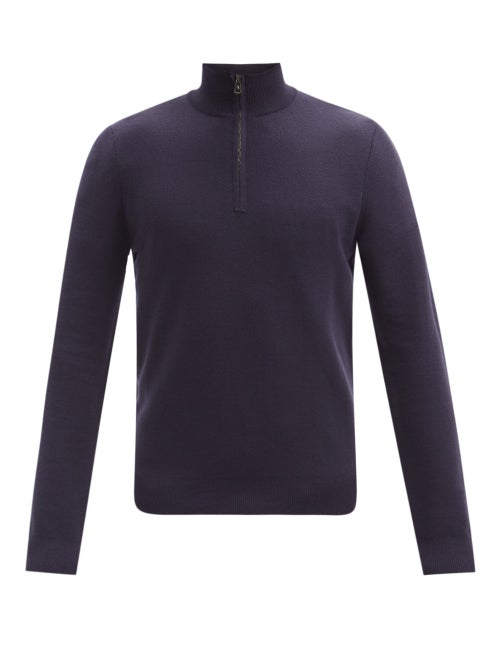 Ralph Lauren Purple Label - Seed-stitched Zip-neck Wool Sweater - Mens - Navy