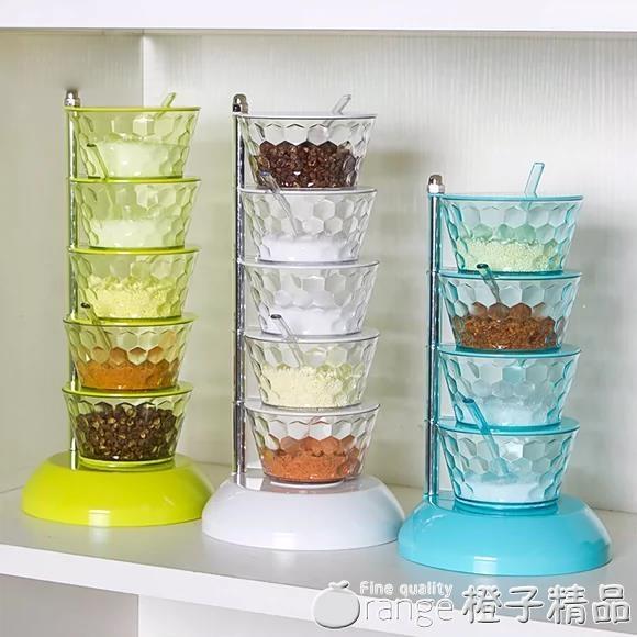 廚房立式水晶旋轉調料盒套裝品調味罐收納盒廚房家用調味盒多層