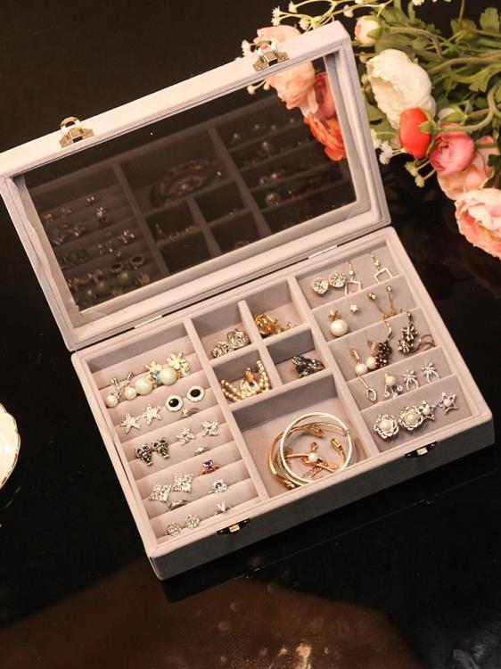 絨布首飾盒大容量透明簡約耳釘耳環手鐲 摩登生活