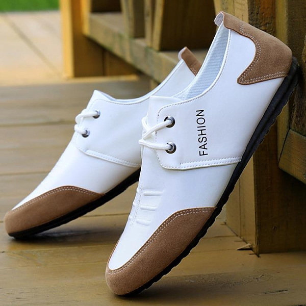 小白鞋男 2021鞋新品春季透氣鞋子潮流工作鞋士休閒鞋皮鞋韓版