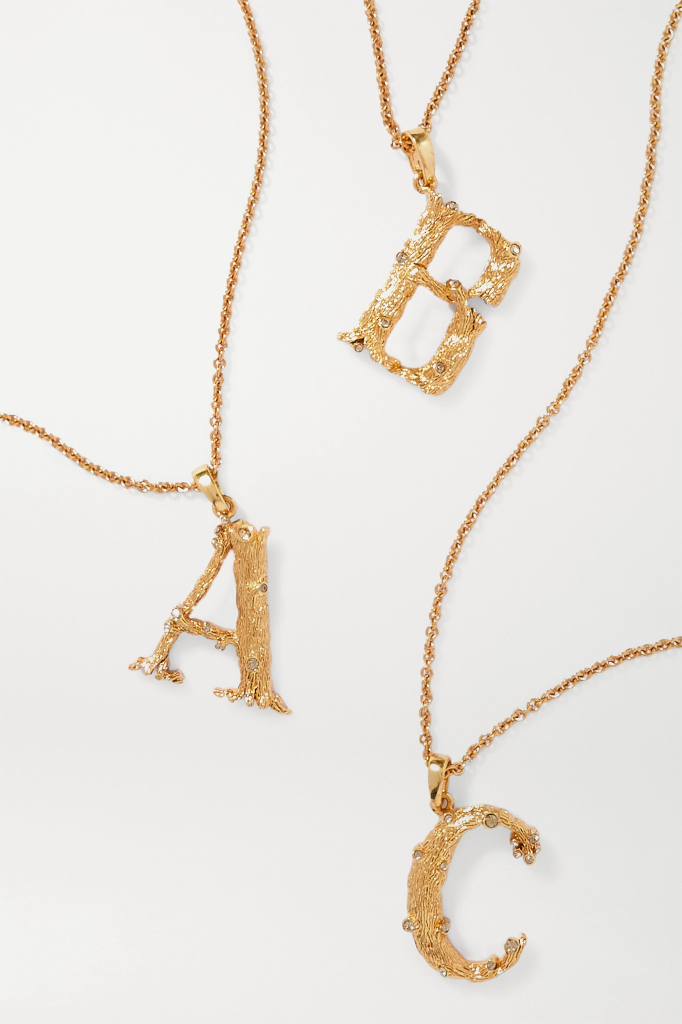 OSCAR DE LA RENTA - Letter Gold-plated Crystal Necklace - D
