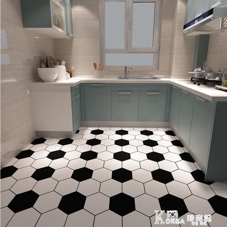 廚房衛生間地板貼紙防水自粘廁所防滑浴室裝飾地面瓷磚地貼厚耐磨