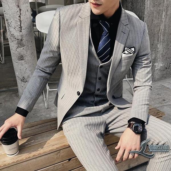 西服套裝男士三件套修身職業正裝西裝外套【邻家小鎮】