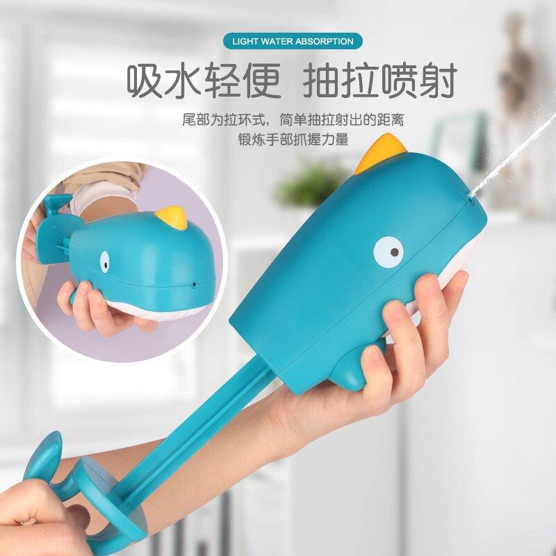 洗澡玩具兒童卡通戲水玩具戶外沙灘鯨魚抽拉式噴水槍