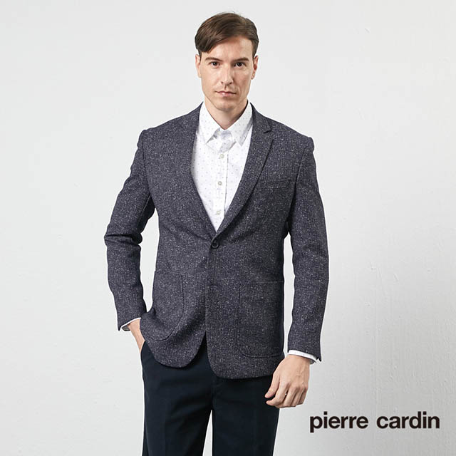 【pierre cardin 皮爾卡登】 男裝時尚簡潔休閒西裝外套-深藍 (5205571-39)