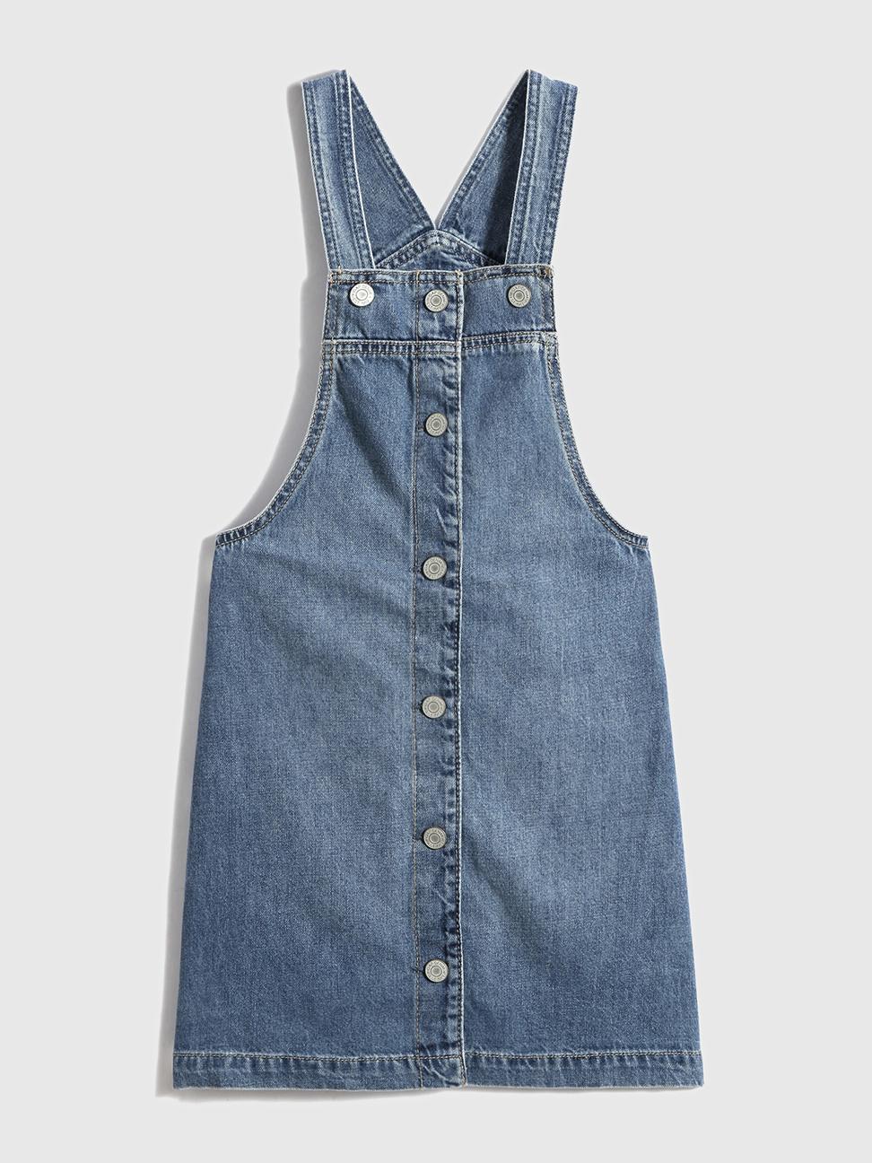 女童 純棉紐扣吊帶牛仔裙