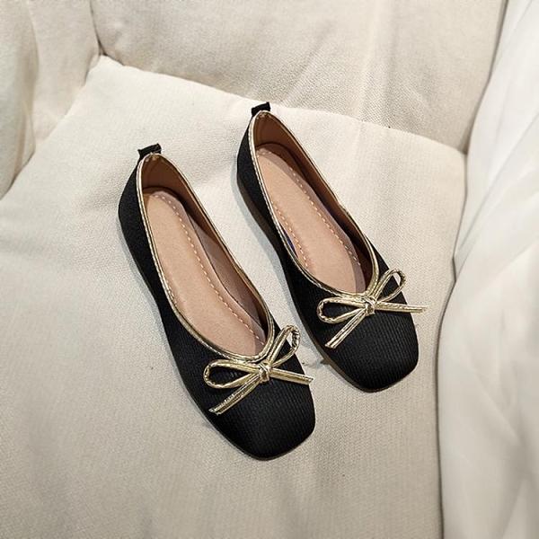 甜美娃娃鞋 春平底方頭單鞋淺口軟底歐美小香風奶奶鞋平跟舒適上班工作鞋黑色 豆豆鞋