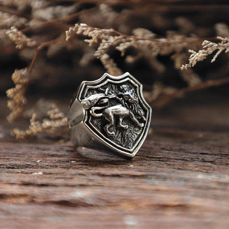 925纯银Reggae风格的男女通用犹大戒指拉斯塔狮子
