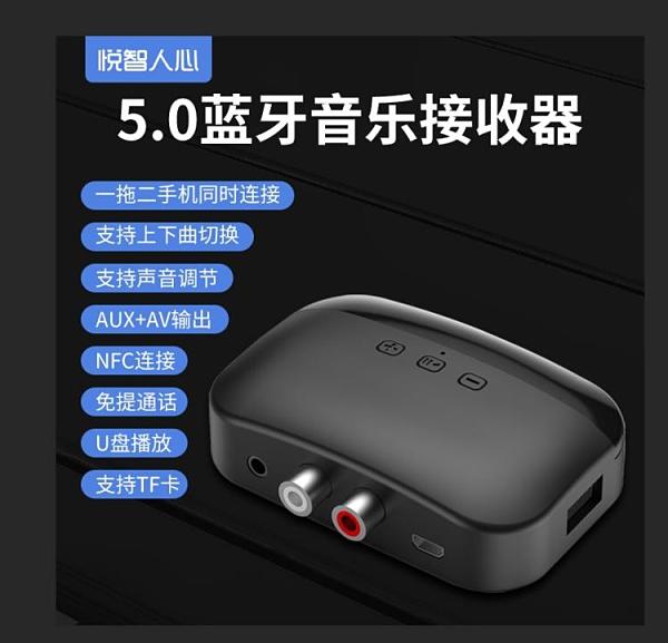 車載藍牙接收器5.0無線轉接aux音頻輸出老式音響音箱功放3.5mm外接家用一米