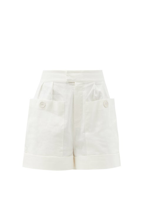 Sir - Martine High-rise Linen-blend Canvas Shorts - Womens - Ivory