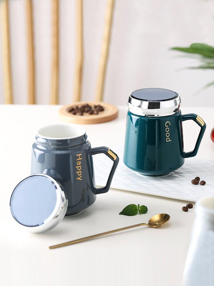 馬克杯帶蓋大容量陶瓷咖啡喝水杯女男生款辦公室情侶家用茶杯子勺