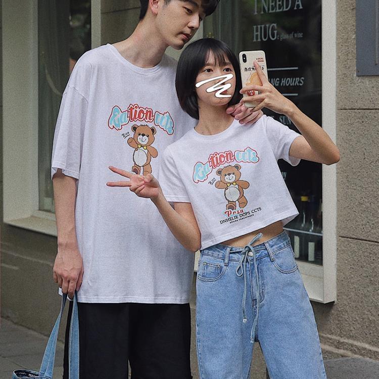衫島小熊印花短袖男潮流ins超火bm風短款T恤女不一樣的情侶裝夏裝 凡卡時尚