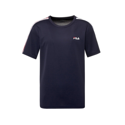 FILA 男抗UV吸濕排汗T恤-丈青 1TEV-1304-NV
