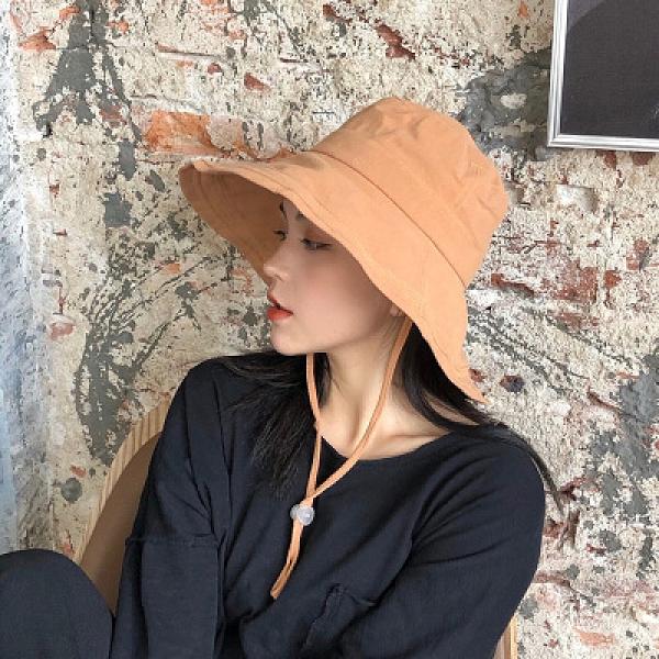 遮陽帽 純色大簷漁夫帽子女夏天可折疊防曬太陽帽布帽韓版全棉遮陽帽夏季