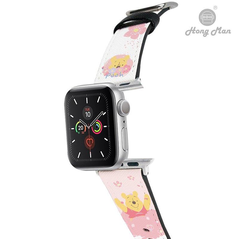 【Hong Man】迪士尼系列 Apple Watch 皮革錶帶 粉萌繽紛維尼01