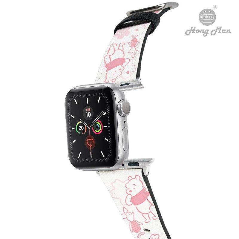 【Hong Man】迪士尼系列 Apple Watch 皮革錶帶 粉萌繽紛維尼02