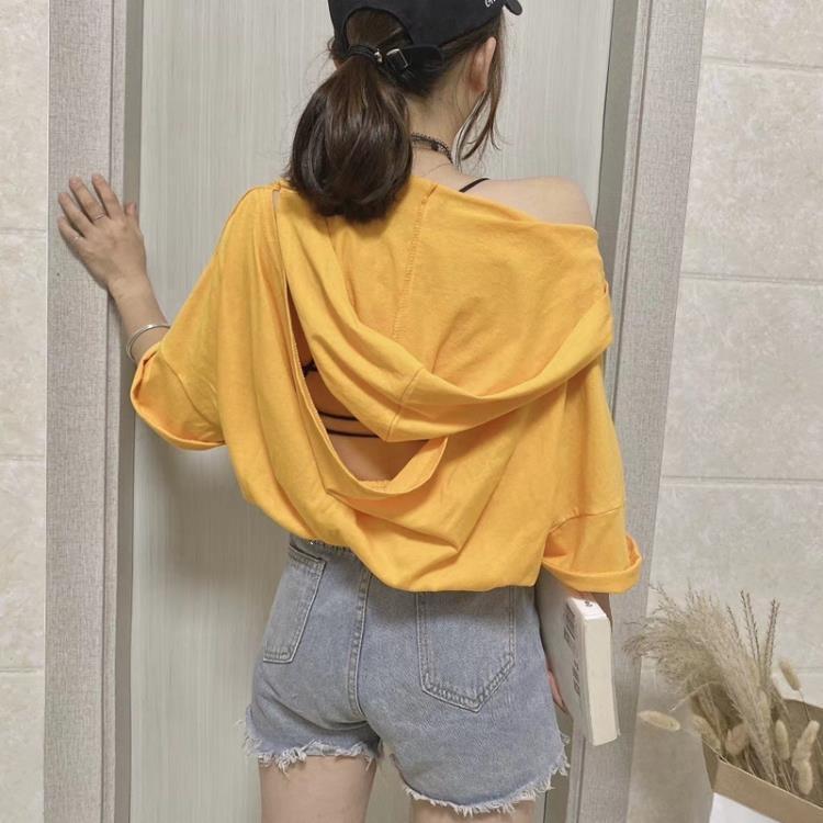 網紅t恤女ins超火短款2021寬鬆抽繩小衫性感連帽美背露背上衣女夏 凡卡時尚