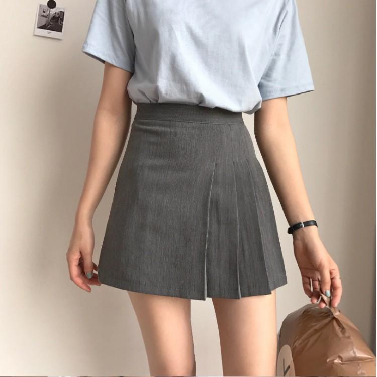 早春四季可穿搭配神器灰色百搭百褶裙 西裝短裙 打褶裙 夏季高腰迷你裙 A字短裙