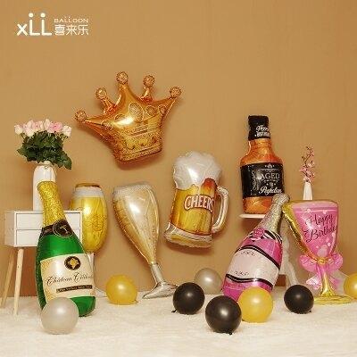 買二送一 結婚房布置情人節兒童生日酒吧派對裝飾香檳酒杯氣球 城市玩家