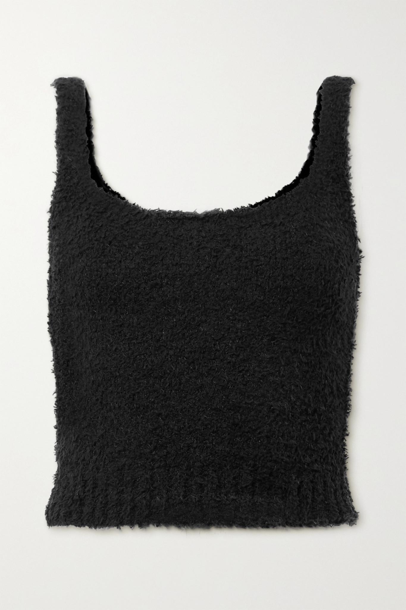 SKIMS - Cozy Knit Bouclé Tank - Bone - Black - S/M