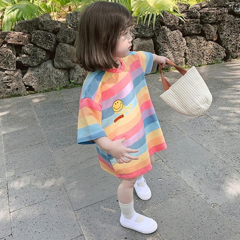 微笑彩虹寬條長版短袖上衣 女童 中童 小童 現貨 兒童 橘魔法 現貨 童裝【p0061223622099】