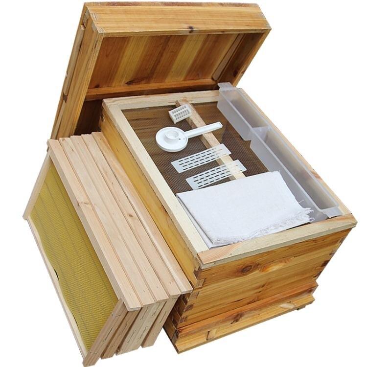 蜜蜂箱全套中蜂帶框巢礎煮蠟蜂箱杉木成品巢框蜂巢蠟養蜂工具 ATF  城市玩家