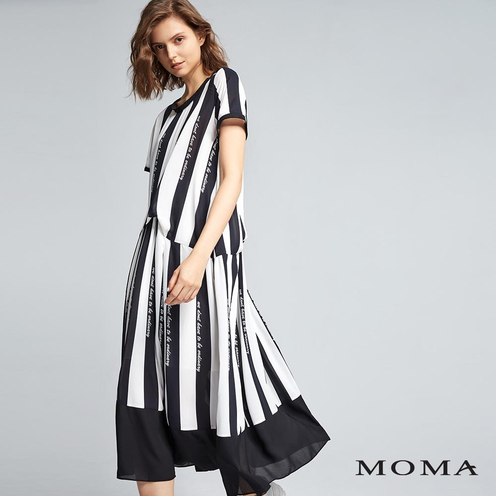 MOMA(01D081)條紋標語洋裝