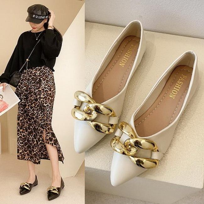 FOFU-(任2雙788)時尚金色鏈條方跟低跟樂福鞋【02S13657】