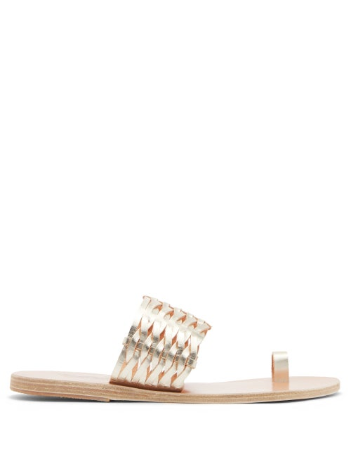 Ancient Greek Sandals - Thalia Toe-loop Woven-leather Sandals - Womens - Gold