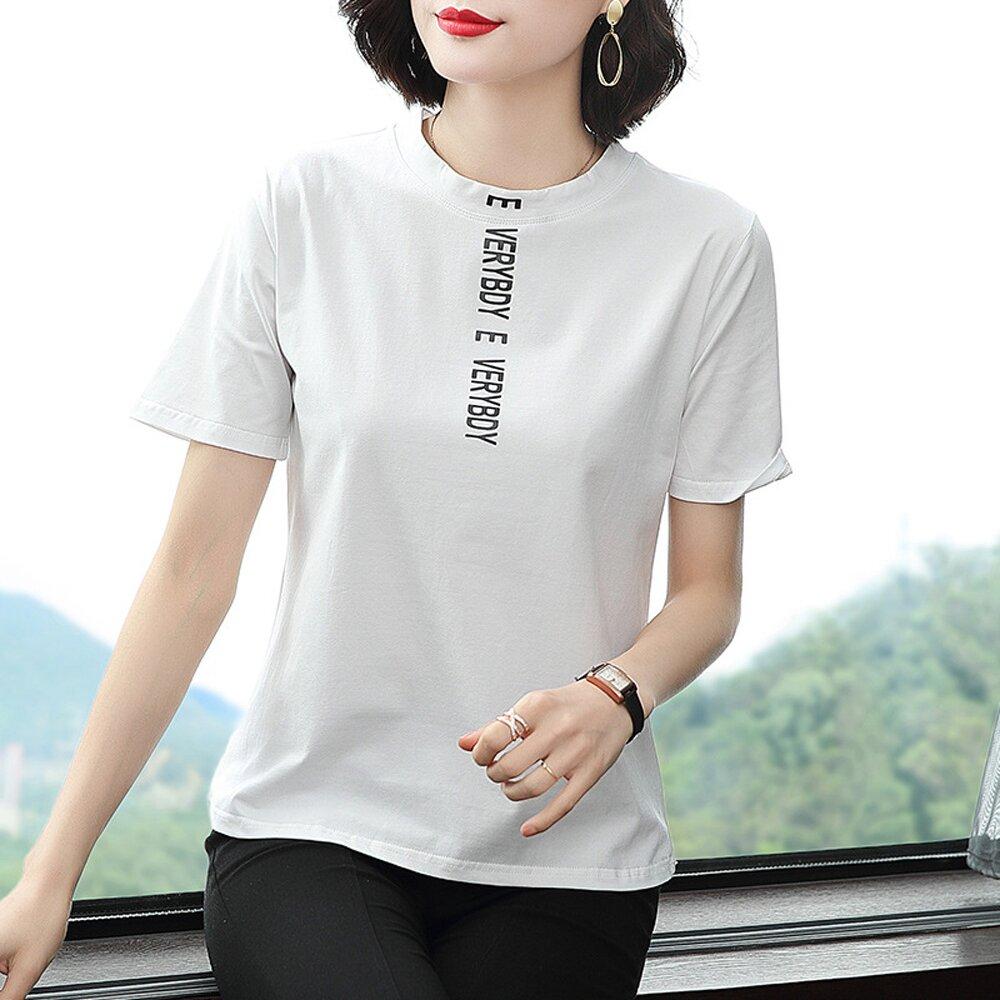 【ALLK 歐楷】小立領印花上衣 白色(尺寸L-XXL)