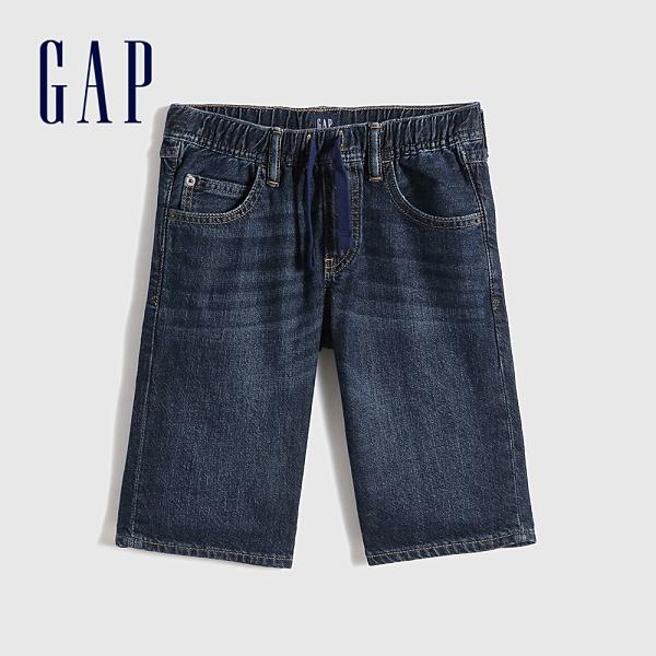 Gap男童 街頭純棉牛仔短褲 586259-深色水洗