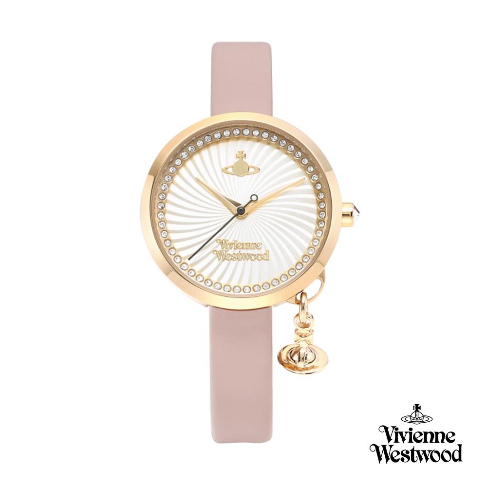 【Vivienne Westwood】夢幻愛戀旋渦晶鑽真皮腕錶(粉色)_W-VW-011