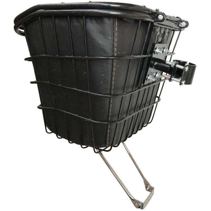 自行車籃 折疊自行車車籃子前車筐雅迪電動車電瓶車前掛防水內膽包鐵框車簍『XY15295』