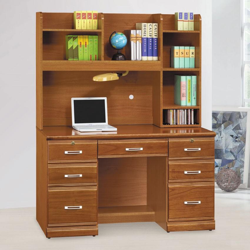 【126cm書桌-E614-3】工作桌 辦公桌 學生書桌 主管桌 書櫃型書桌【金滿屋】