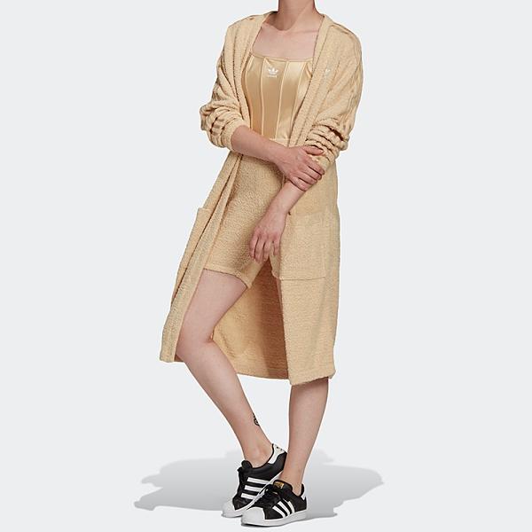 【現貨】ADIDAS KIMONO 女裝 外套 浴袍 休閒 長版 寬鬆 毛絨 米 奶茶【運動世界】H18831