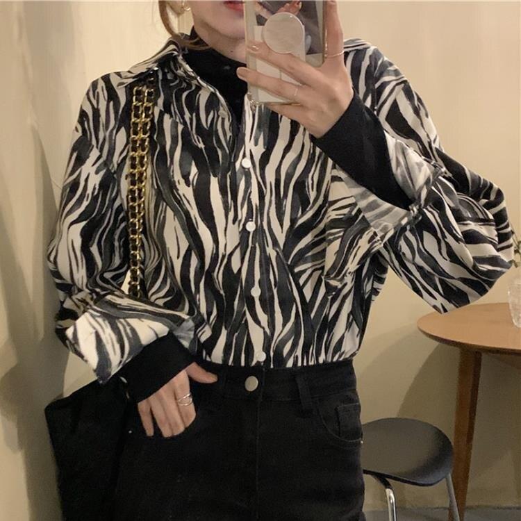 襯衫 長袖襯衫女春秋款2021新時尚復古港味設計感小眾上衣寬鬆襯衣外套