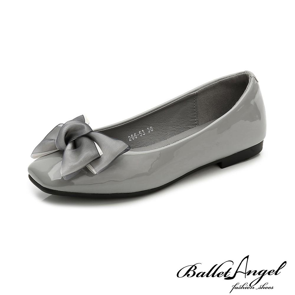 【BalletAngel】娃娃鞋 甜美戀曲蝴蝶結平底鞋(灰)【18-186-1gy】【現+預】
