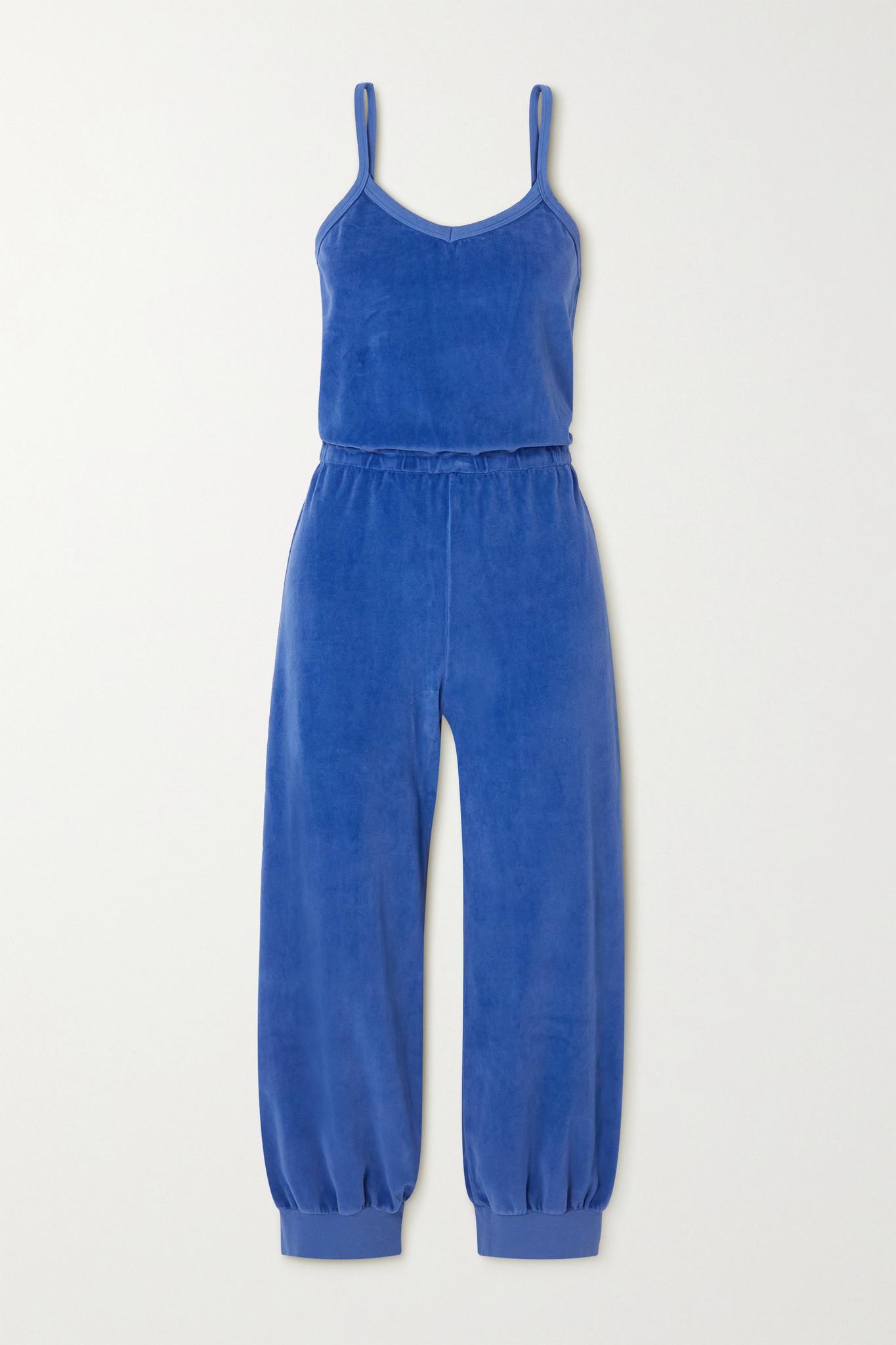 SUZIE KONDI - Tank 棉质混纺密丝绒七分连身裤 - 蓝色 - medium