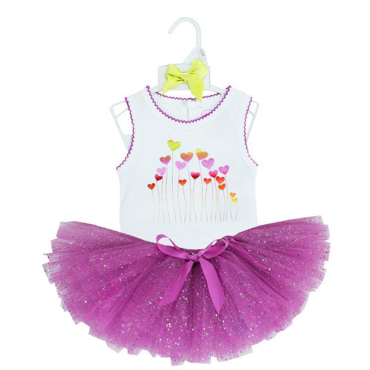短袖套裝二件組 包屁衣+蓬蓬紗裙 紫愛心 女寶寶 | RuffleButts【RUGSET3】AC0305