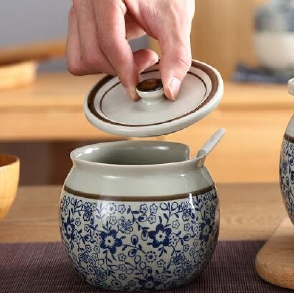 調味瓶罐陶瓷中式仿古調料調味鹽罐套裝廚房豬油辣椒罐油罐家用