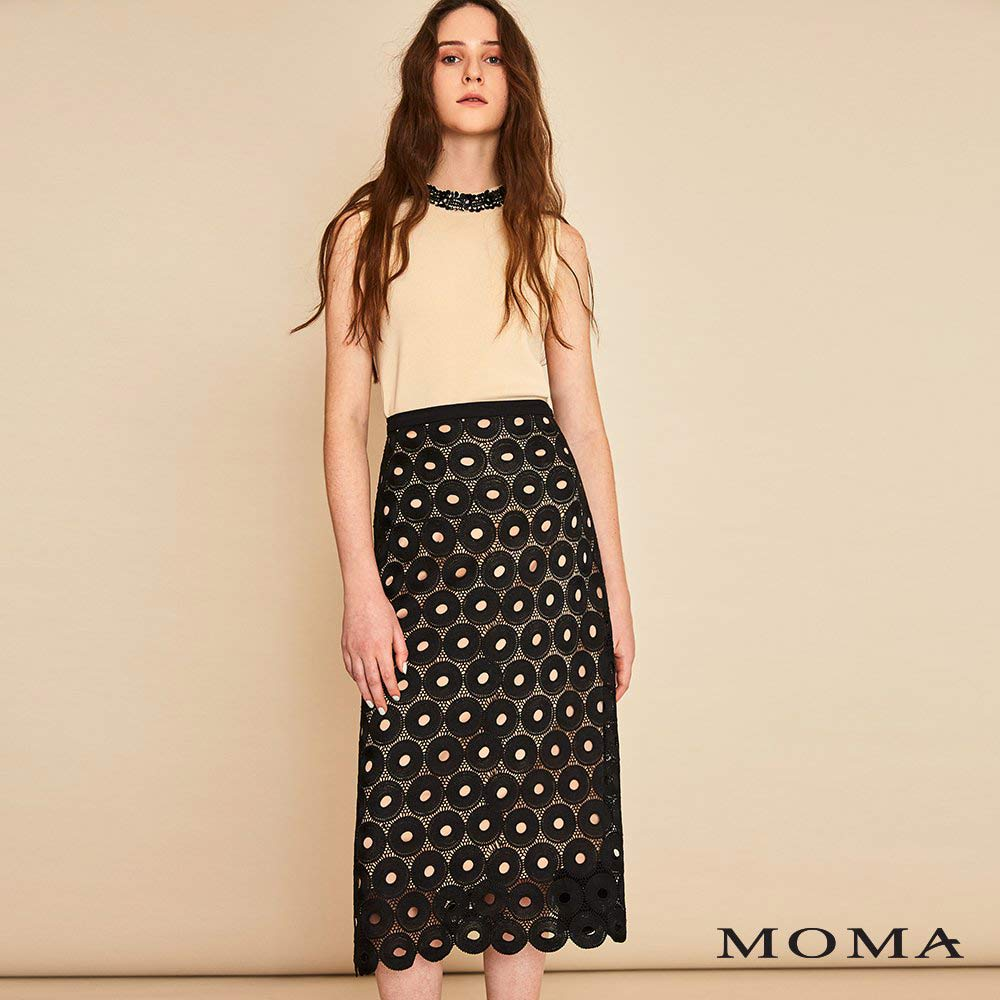 MOMA(01S033)鏤空圓形蕾絲裙