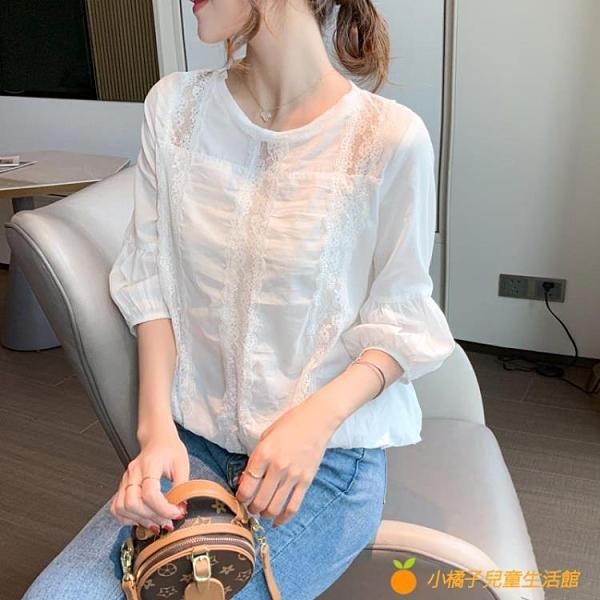 雪紡襯衫短袖上衣女裝2021年春裝新款洋氣燈籠袖襯衣蕾絲花邊上衣【小橘子】