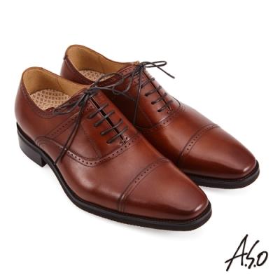 A.S.O 活氧氣墊橫飾綁帶牛津紳士鞋-咖啡