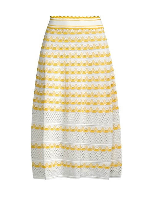 Striped Pointelle Knit Skirt