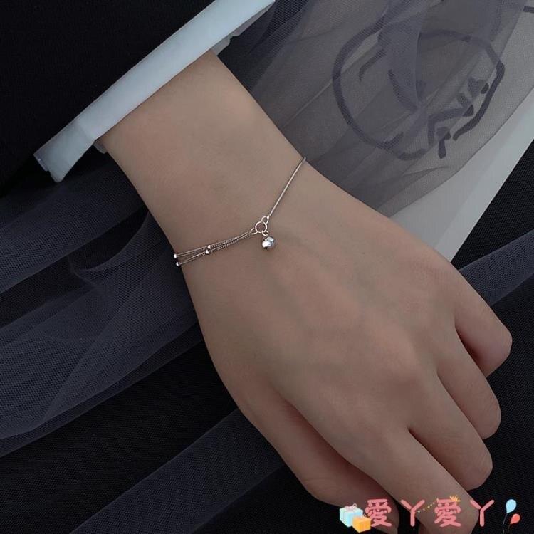 手鍊 925純銀轉運珠手鍊女小眾設計百搭手飾簡約學生雙層冷淡風飾品